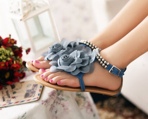 3D Flower String Beads Ankle Straps Flat Sandals