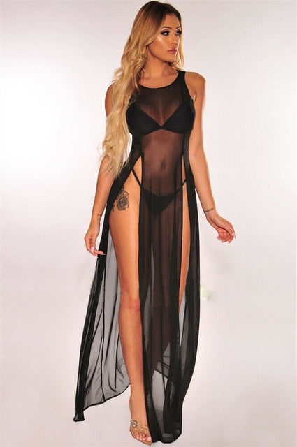 Solid Chiffon Dual High Split Long Bikini Cover Up