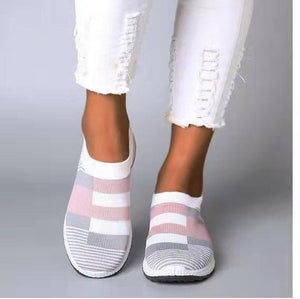 Solid Air Mesh Cloth Vulcanized Sock Flat Shallow Slip Ons