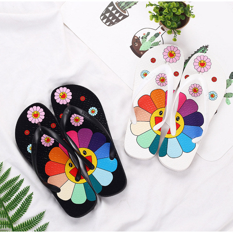 Colorful Flower Printed Bling Open Toe Slippers