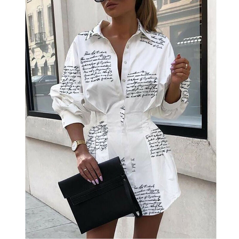 Deep V-Neck Button Down Shirt Long Sleeve  Dress