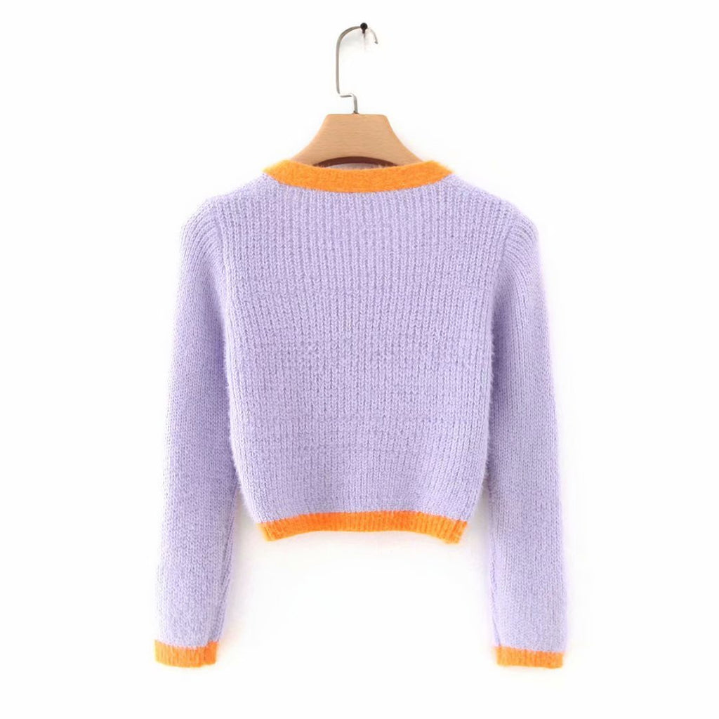 Knitted Wool Short Sleeve V-Neck Crop Top