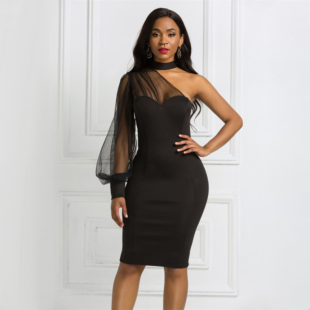 One Shoulder Mesh Long Sleeve Patchwork Zipper Bodycon Dress
