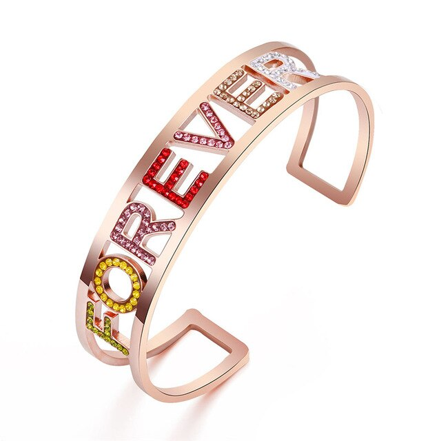 Colorful Shining Crystal Letter Cuff Bracelet Bangle