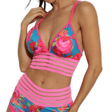 Digital Flower Print V-Neck Stripe Mesh Patchwork Stretch Sportswear