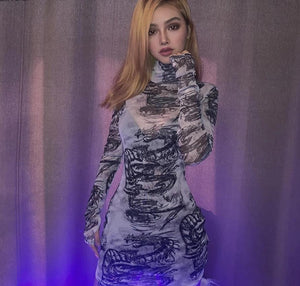 Dragon Print Turtleneck Long Sleeve See Through Bodycon Dress