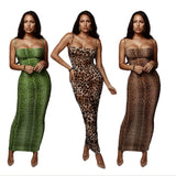 Leopard And Snake Print Spaghetti Strap Sleeveless Backless Bodycon Dress