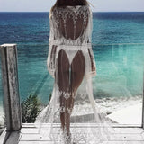 Patterned Lace Crochet Hollow Half Sleeve Bikini Cover Up