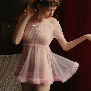 Lace Trim Slash Neck Nightwear