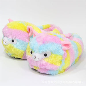 Furry Colored Plush Alpaca Cotton Slip On Home Slippers