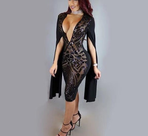 Sparkle Vintage Glam Shawl Slit Sleeves Bodycon Sequin Dress