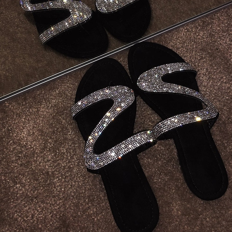 Crystal Bling Open Jelly Flat Sandal