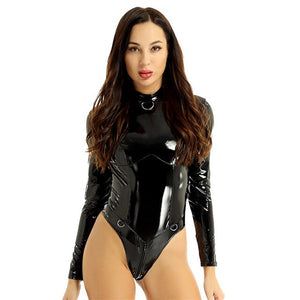 Patent Leather High Collar Long Sleeves Double Zipper Bodysuit