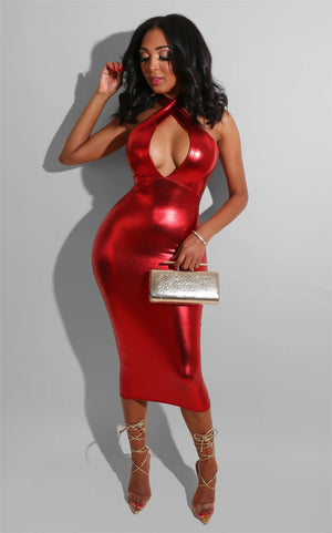 Shiny Metallic Halter Cut Out Chest Backless Bodycon Dress