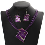 Square Pendant Multilayer Leather Chain Necklace Drop Earrings Jewelry Set