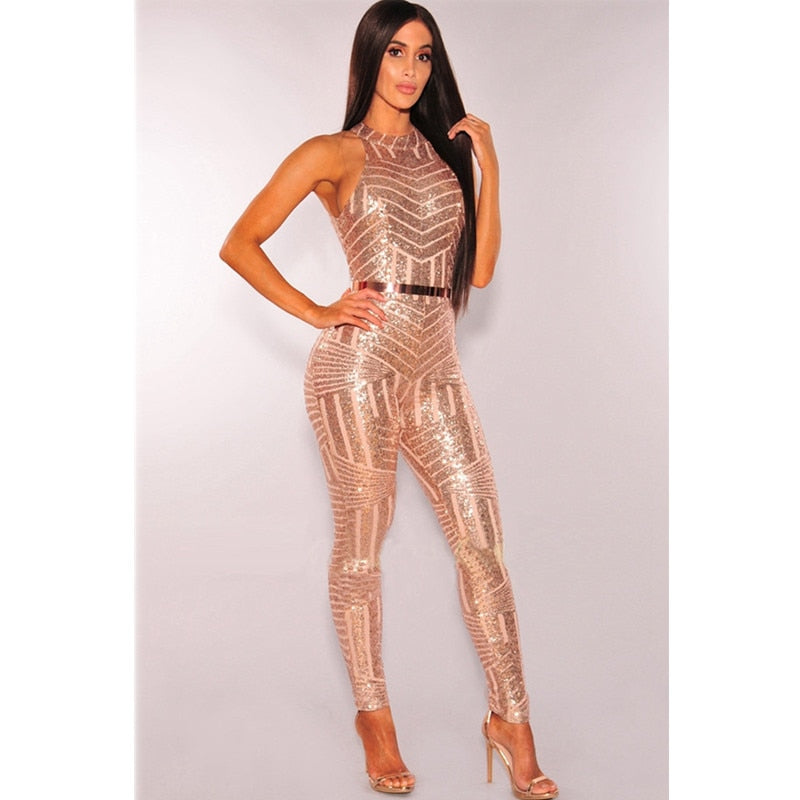 Glitter Halter Open Back High Waist Sequined Mesh Jumpsuit