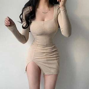 Square Collar Bottom Slit Long Sleeve Mini Bodycon Dress