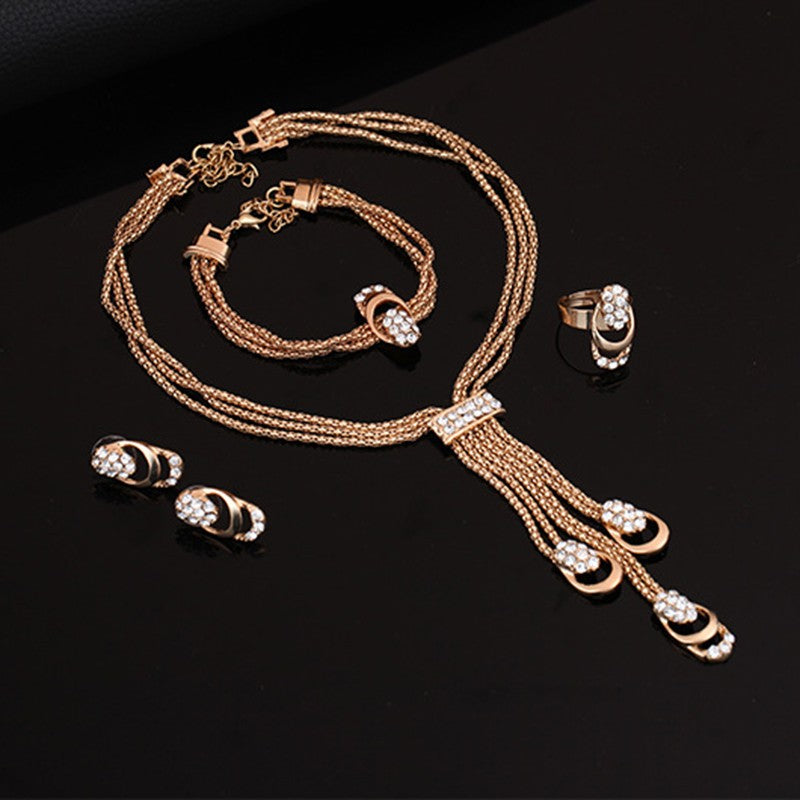 Gold Crystal Tassel Pendant Jewelry Set