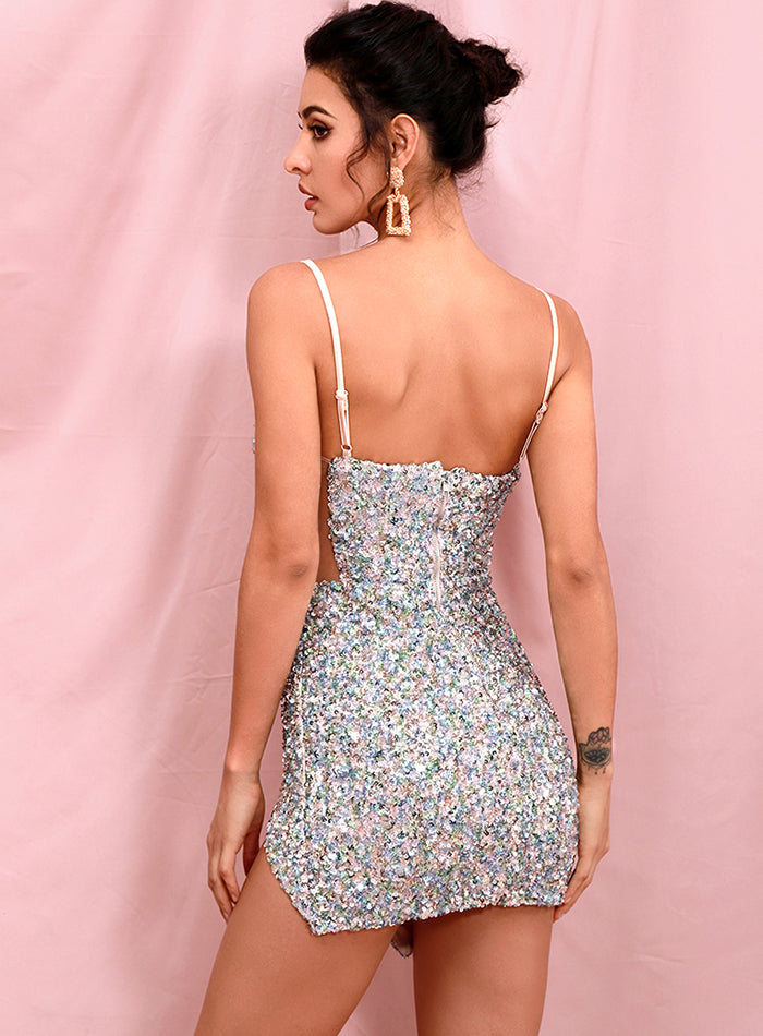 Sequin Spaghetti Strap Tube Top Cut Out Stretch Bodycon Dress