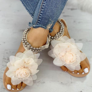 Big Flower Open Toe Round Bead Ankle Strap Flat Sandal