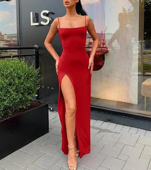 Ankle-Length Sleeveless Slit Bodycon Dress
