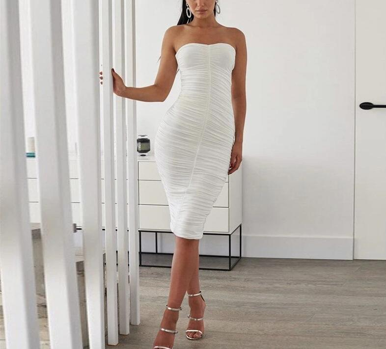 Ruched Elastic Strapless Backless Bodycon Dress