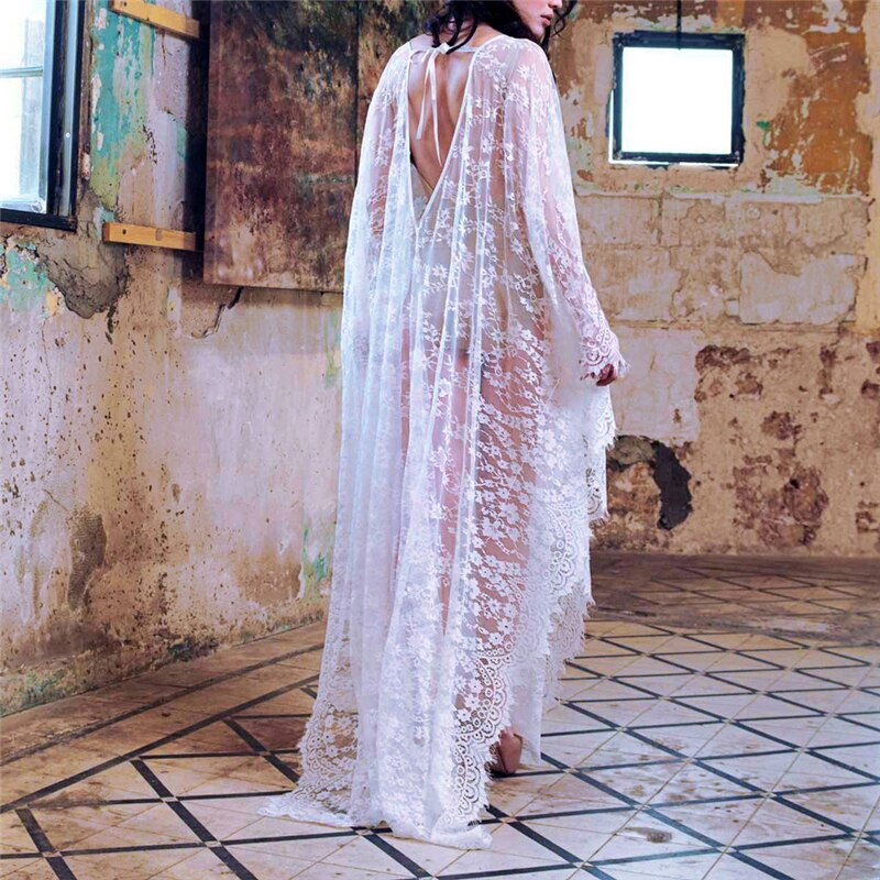 Chiffon Lace Mesh V Neck Backless Long Loose Cover Up