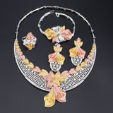 Crystal Bead Flower Pendant Hollow Out Jewelry Set