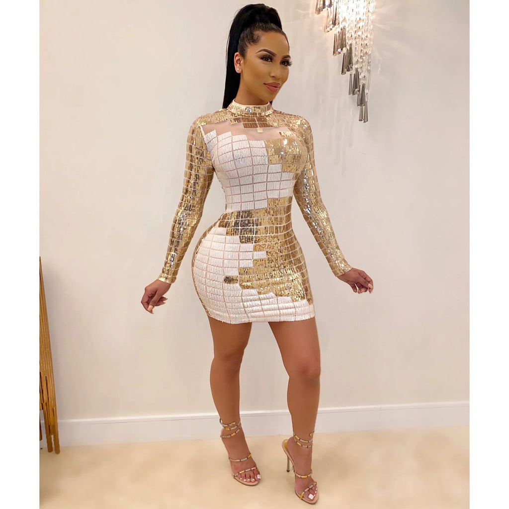 High Neck Long Sleeve Geometric Pattern Bodycon Sequin Dress