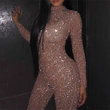 Bronze Sequin Glitter Round Collar Long Sleeve Skinny Jumpsuit