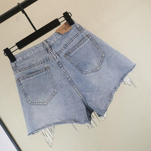Diamond Tassels Denim High Waist Shorts