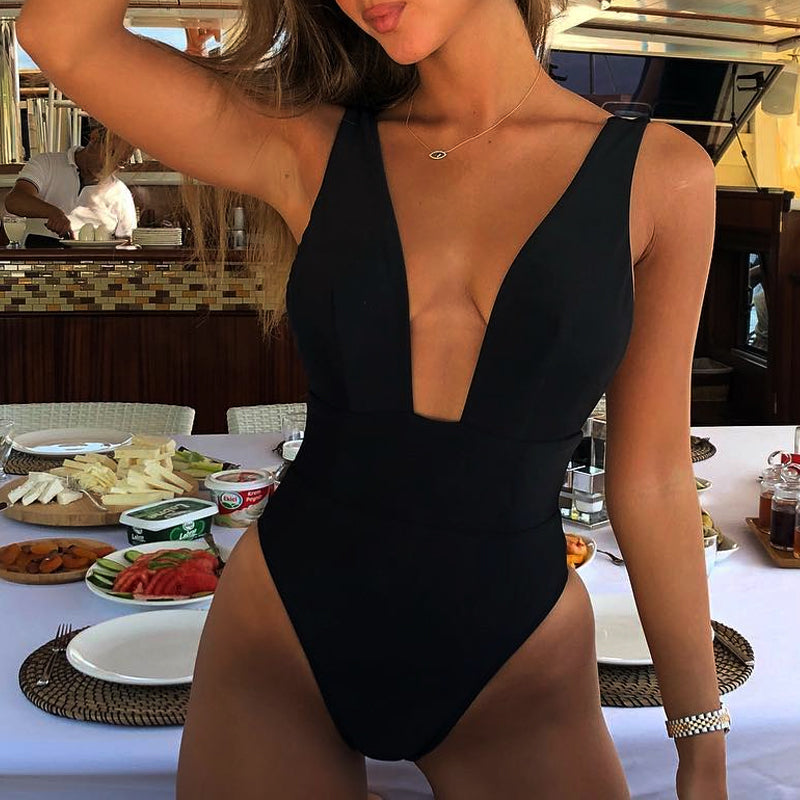 Deep V Neck Backless High Leg Cut Cheeky One Piece Swimwear