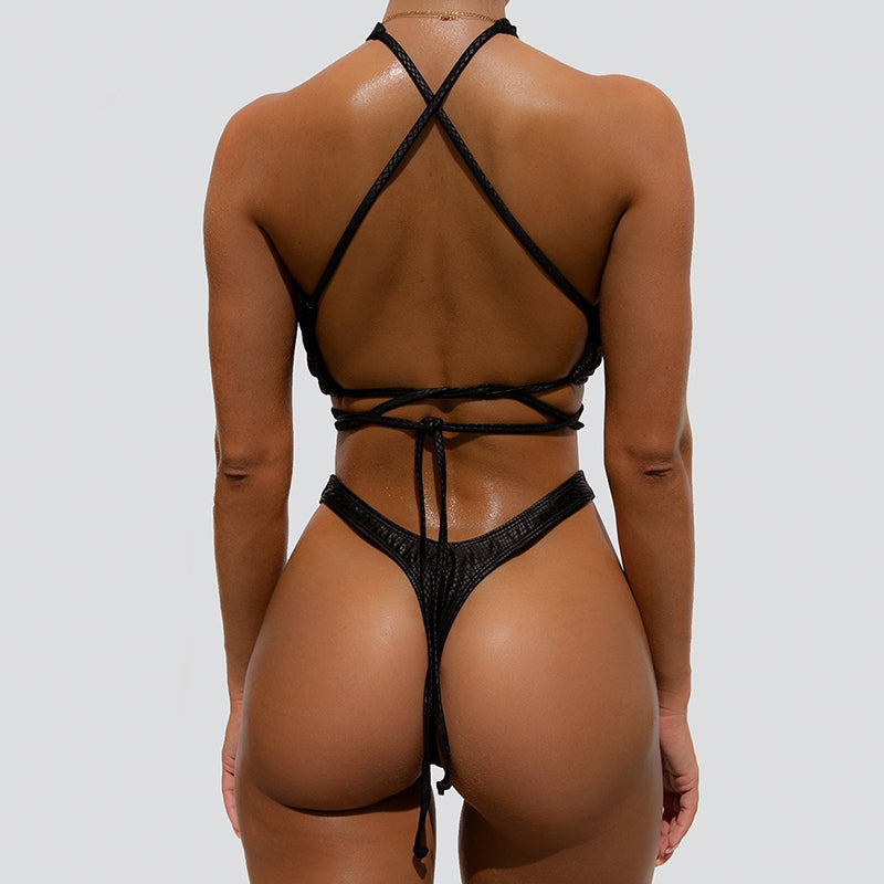 Halter Neck Push Up Lace Up High Cut Bikini