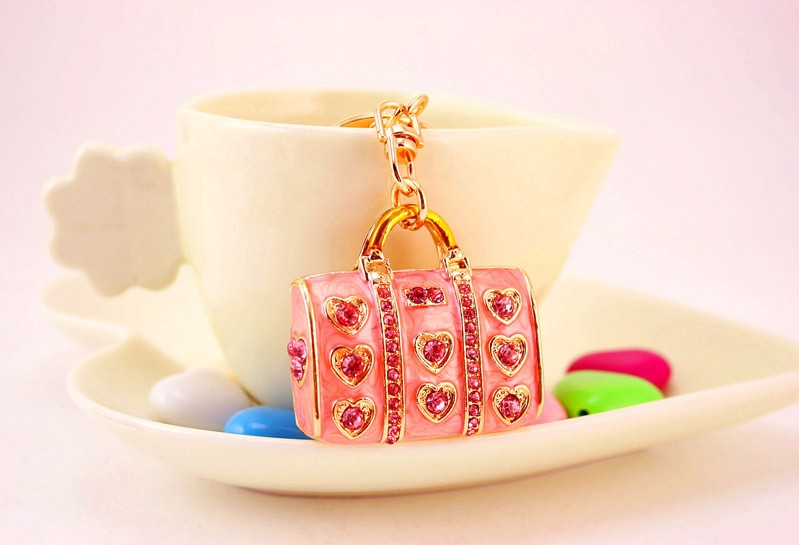 Enamel Crystal Heart Handbag Key Chain