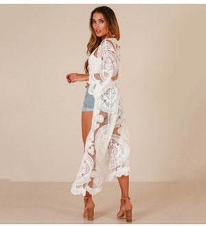 Bohemian Lace Kimono Long Cardigan Cover Up