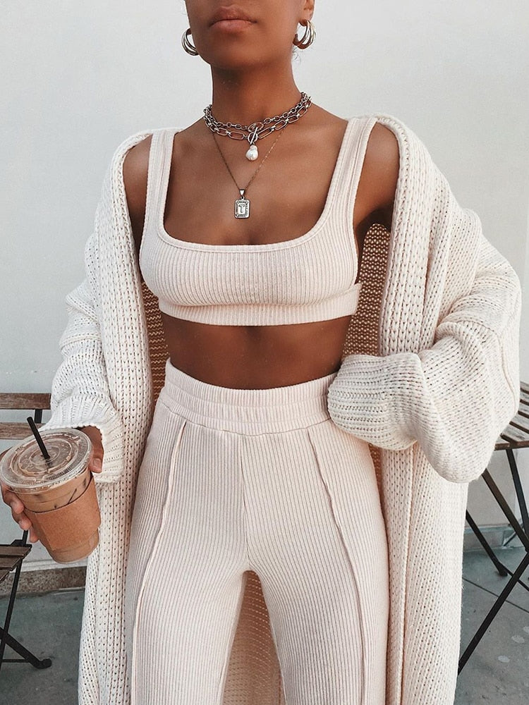 Square Collar Sleeveless Ribbed Crop Top Two Piece Jumpsuit