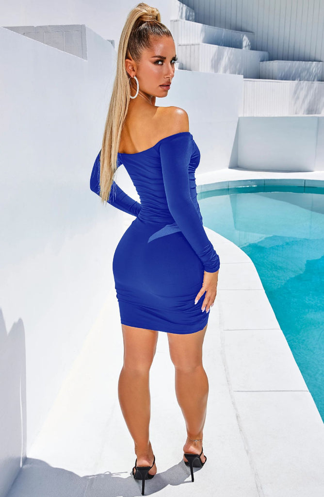 Drawstring Slash Neck  Long Sleeve Bodycon Dress
