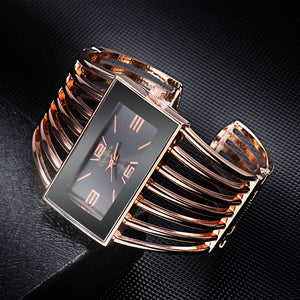 Rectangular Case Multi-Layer Wide Bangle Bracelet Watch