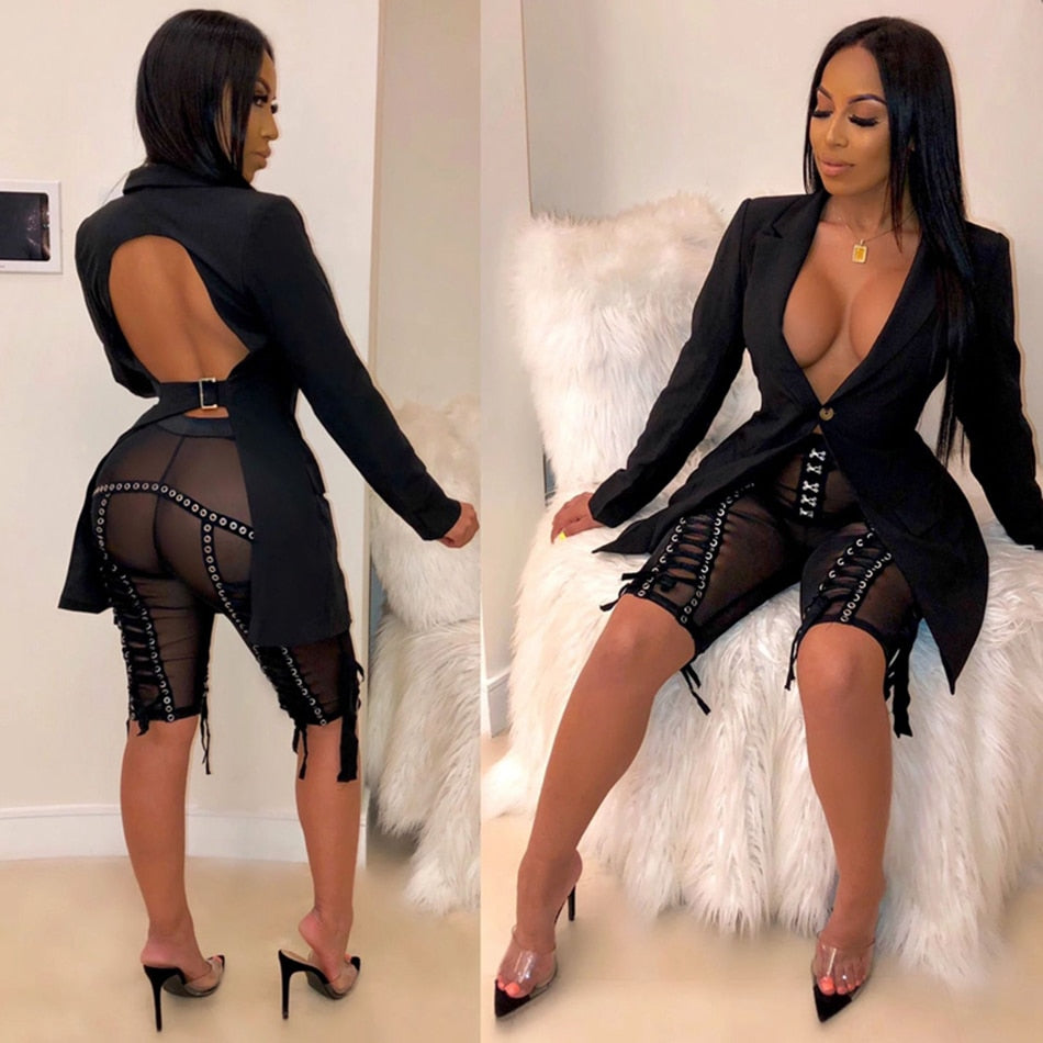 Two Piece Long Sleeve Cutout Jacket and Knee Length Ribbons Pant Set