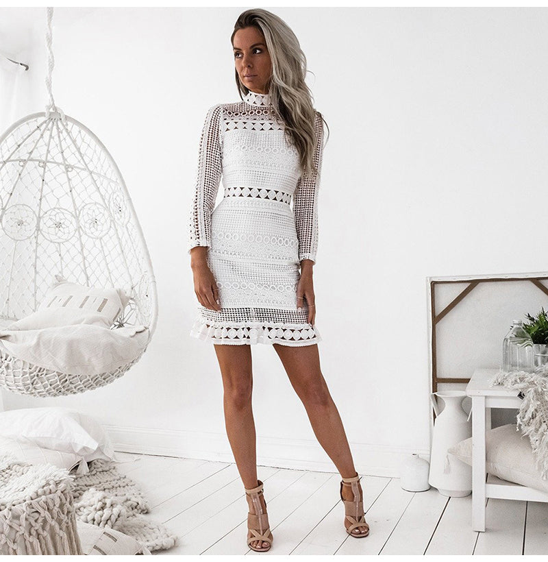 Lace Stitching Turtleneck Long Sleeve Casual Dress