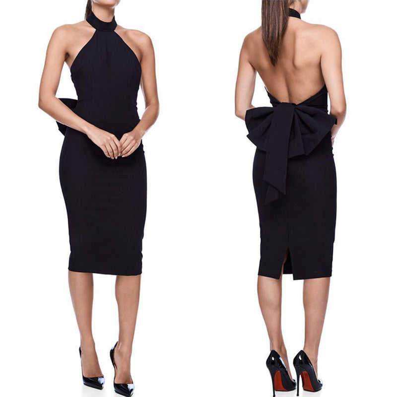 Full Sleeve Epaulet V-Neck Backless Bow Split Bodycon Dress