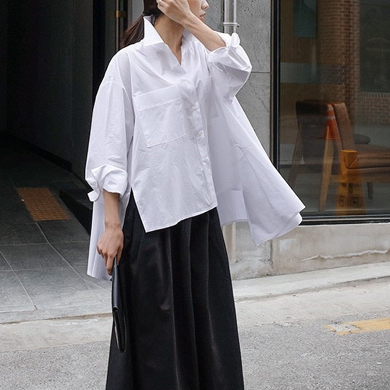 Turn Down Collar Lapel Long Sleeve Loose Blouse