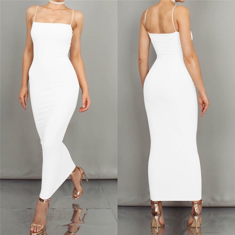 Sleeveless Sheath Strapless Spaghetti Strap Maxi Dress