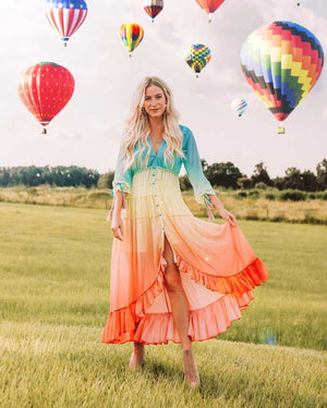 Bohemian Ombre Rainbow High low Tiered Ruffles Trim Maxi Dress