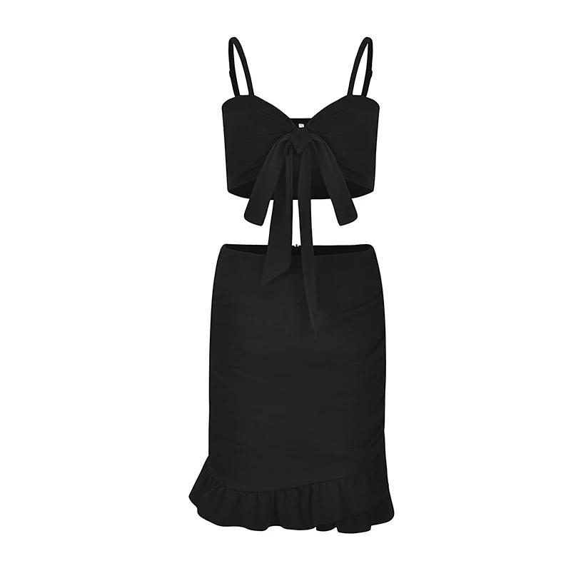 Ruffle Bow Off Shoulder Spaghetti Strap Two Piece Dress