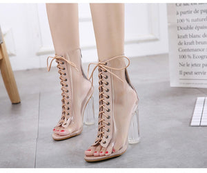 Transparent PVC Peep Toe Clear Chunky Heels Lace Up Ankle Boots