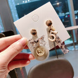 Perfume Bottle Number Five Long Tassel Stud Earrings