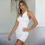Halter V-Neck Front Button Backless Sleeveless Off Shoulder Bodycon Dress