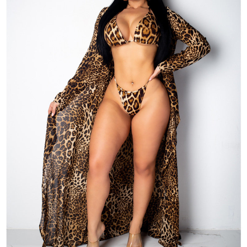 Leopard Print Long Sleeve Cover Up Halter Bra High Waist Bikini