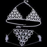 Heart Rhinestone Bra Body Chest Chain Sexy Jewelry